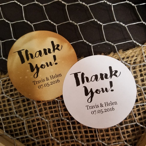 "Thank You 2"" STICKER Personalized Wedding Shower Favor STICKER choose your amount"
