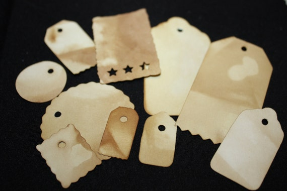 Tea Stained Tags Variety Pack 100 tags SMALL and MEDIUM sizes