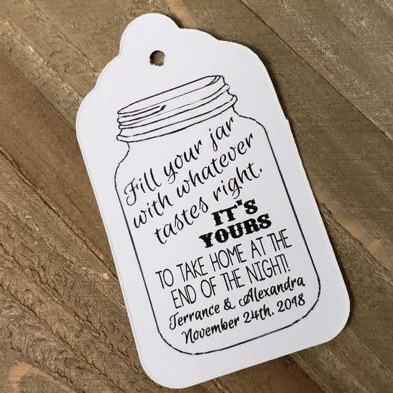 Fill your jar with whatever tastes right MEDIUM Personalized Wedding Favor Tag  choose your amount