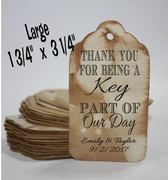 Thank You For Being a Key Part of Our Day favor tag LARGE Tags Personalize with names and date Choose your Quantity