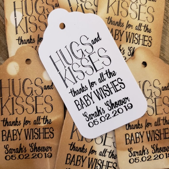 "Hugs and Kisses Thanks for all the Baby Wishes (my LARGE) 1 3/4"" x 3 1/4"" Tags Personalize  baby shower"