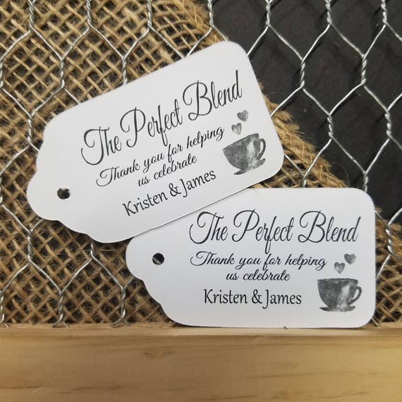 The Perfect Blend MEDIUM Personalized Wedding Favor Tag 1 3/8 x 2 1/2 choose your amount