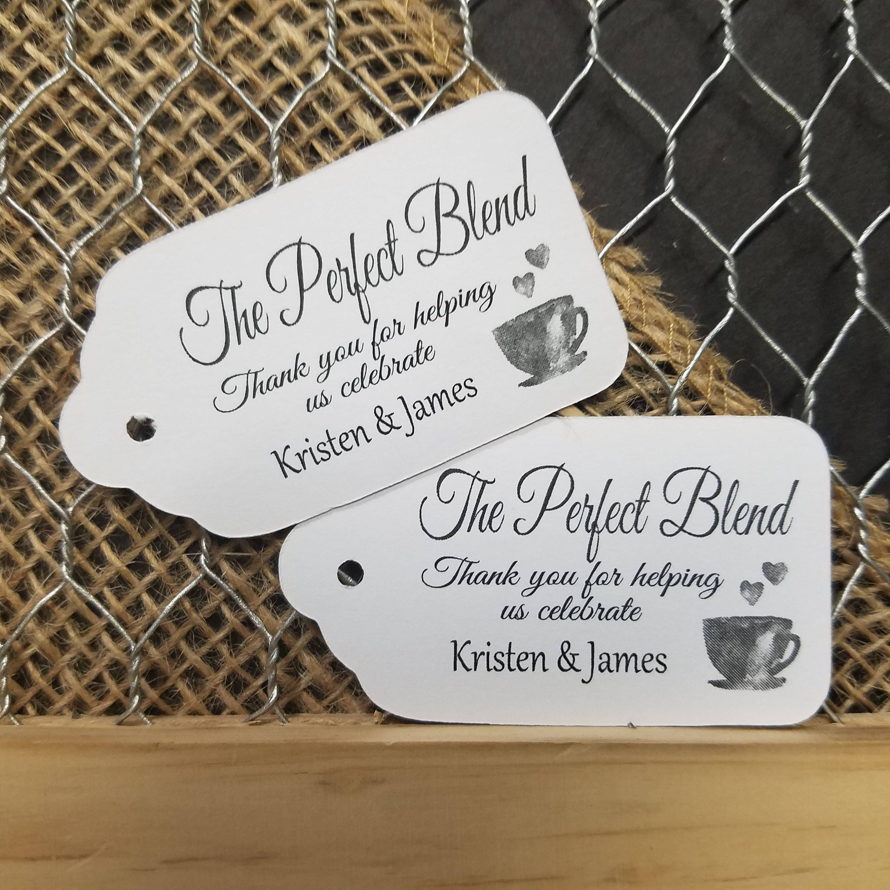 The Perfect Blend MEDIUM Personalized Wedding Favor Tag 1 3/8 x 2 1 ...