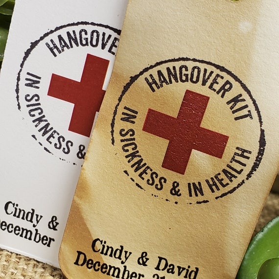 """Hangover Kit in Sickness and in Health Tag (my RECTANGLE tag) 1 1/2"""" x 3"""" Personalized Birthday Shower Wedding Favor Tag day after party"""