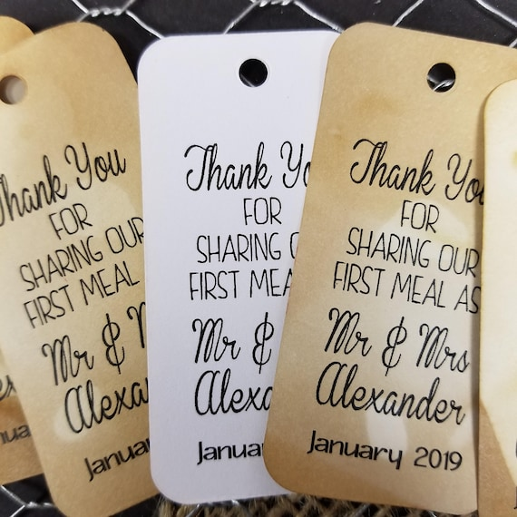 Thank you for Sharing our First Meal as Mr and Mrs RECTANGLE Personalized Wedding Favor Tag  choose your amount