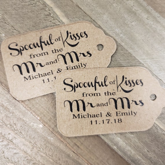 "Spoonful of Kisses from the Mr and Mrs Favor (my SMALL tag) 1 1/8"" x 2"""