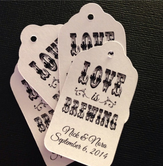 100 Love is Brewing MEDIUM Personalized Wedding Favor tags