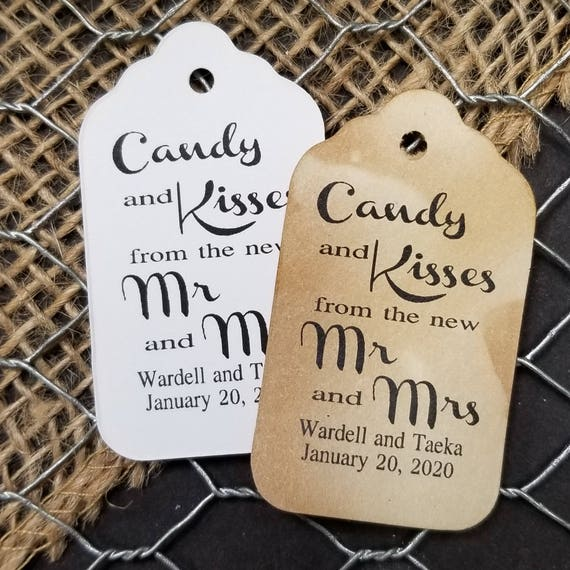 Candy and Kisses from the Mr and Mrs SMALL Favor Tags CHOOSE your Quantity hugs and kisses