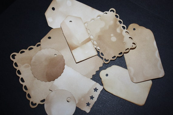 Tea Stained Tags Variety Pack 100 Tags MEDIUM and LARGE sizes