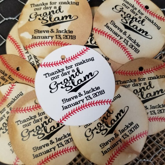 Thanks for making our day a grand slam 100 Tags Circle shape Personalize Favor Tags Wedding Favor Tag Home Run