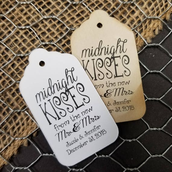 Midnight Kisses from the new Mr and Mrs Personalized Wedding Favor MEDIUM tag choose your amount, hugs and kisses, new mr and mrs