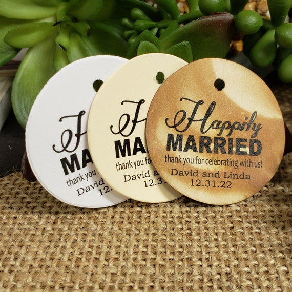 Happily Married Personalized 1.5inch ROUND tag choose your amount Wedding Anniversary Keepsake souvenir Favor tag card