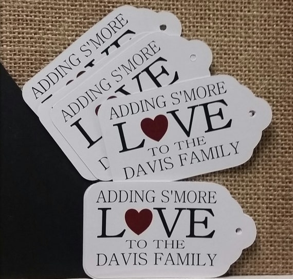 Adding Smore Love to Family MEDIUM Personalized Wedding Favor Tag  choose your amount thanks for sharing our special day
