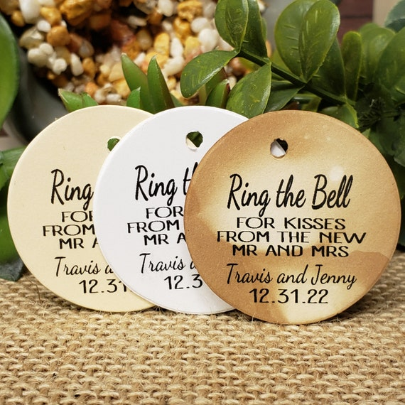 Ring the Bell for Kisses from the Mr and Mrs Personalized 1.5inch ROUND Wedding shower Keepsake souvenir Favor tag card