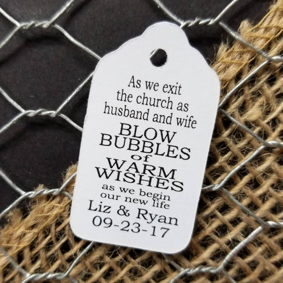 As we EXIT the Church as husband and wife Blow Bubbles of Warm Wishes  EXTRA SMALL 7/8 x 1 5/8 Wedding Bubble Favor Tag