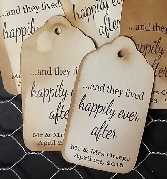 and they lived Happily Ever After 50 EXTRA SMALL 7/8 x 1 5/8 Favor Tag