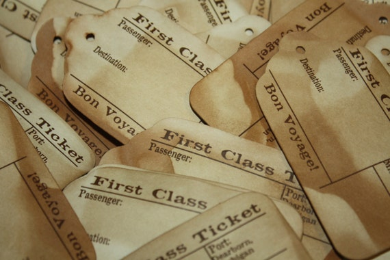 First Class Travel Stub Luggage Style Favor Tags MEDIUM 2 1/2 inches choose your own quantity