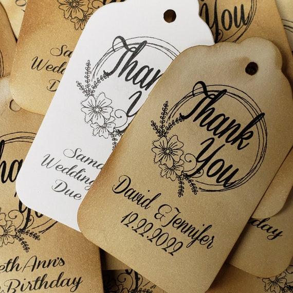 "Thank you (my MEDIUM tag) 1 3/4"" x 2 1/2"" Personalized Wedding Favor, souvenir, keepsake, table decoration,"