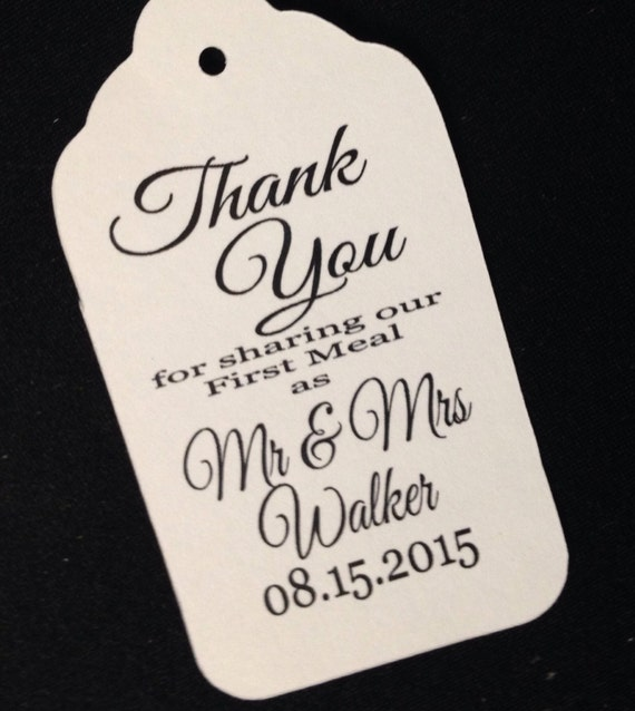 Thank You for Sharing our First Meal LARGE Tags Personalize with name and date