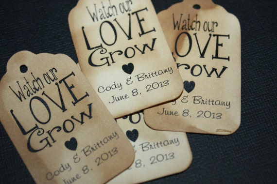 Watch Our Love Grow Favor Tags CHOOSE your Quantity SMALL 2""