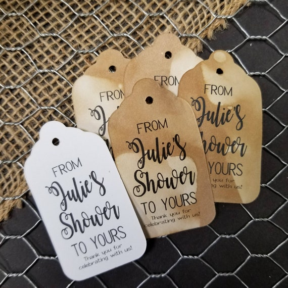 """From My Shower to Yours Choose your quantity SMALL 2"""" Favor Tag Personalized with Name"""