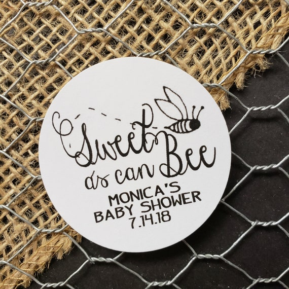 "Sweet as Can Bee SMALL 1"" STICKER Personalized STICKER choose your amount wedding engagement Baby Shower Favor"