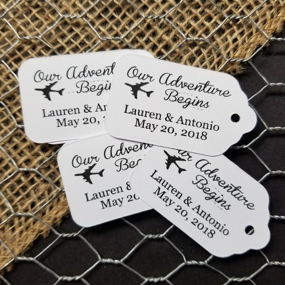 "Our Adventure Begins Choose your quantity SMALL 2"" Favor Tag"