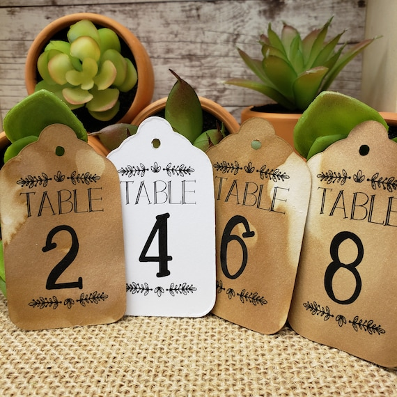 """Table Number Tags Seat Placement Cards (my MEDIUM tag) 1 3/8"""" x 2 1/2"""""""