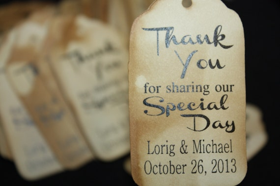 "Thank you for Sharing our Special Day (my MEDIUM tag) 1 3/8"" x 2 1/2"" Wedding Favor Tag"