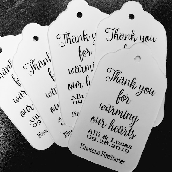 """Thank you for warming our hearts pinecone fire starter favor tag (my MEDIUM) 1 3/8"""" x 2 1/2"""" Tags Personalize"""