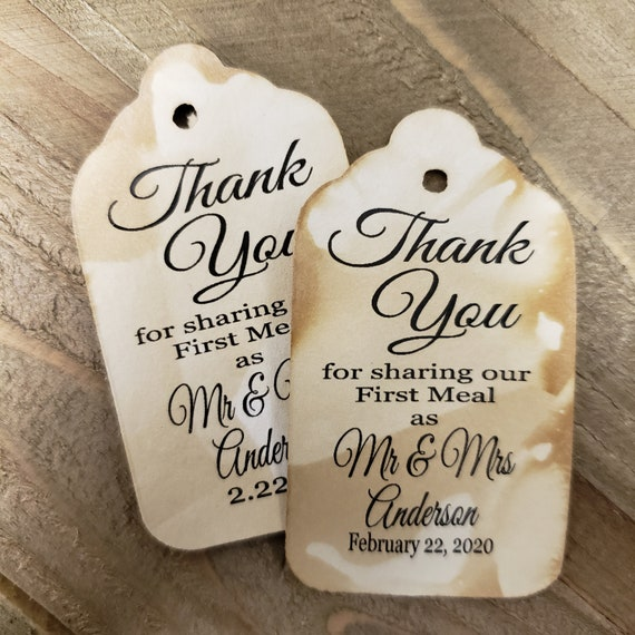 """Thank you for Sharing our First Meal (my LARGE Tag) 1 3/4"""" x 3 1/4"""" Personalize with names and date choose your quantity"""