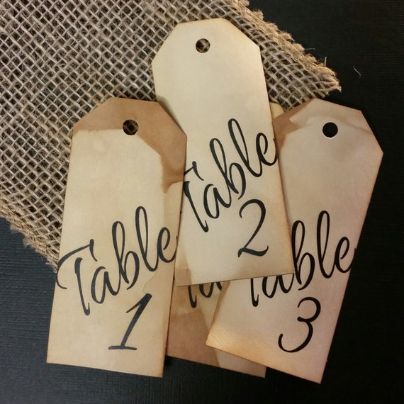 Long Style Table Number Tags 4 font choices choose your quantity
