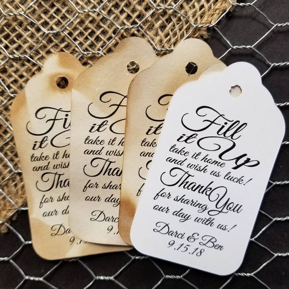 Fill it up Take it home Wish us Luck Thank You Personalized Wedding Drink Tag Fill It Up favor tags
