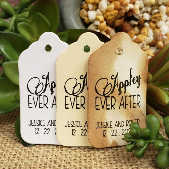 """Appley Ever After (my SMALL souvenir keepsake tag) 1 1/8"""" x 2"""" Favor Tag Choose your quantity Happily ever after"""