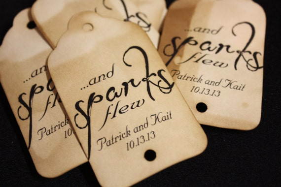 Sparks Flew Personalized Sparkler Farewell Tags Choose your quantity Sparkler tags sparkling drink tag