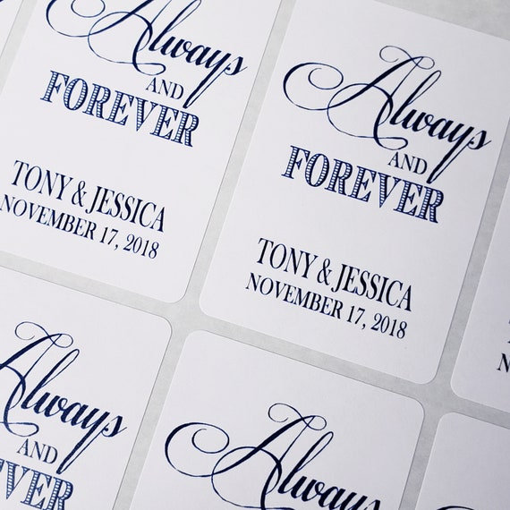 """Always and Forever 2"""" x 3""""  STICKER Personalized Wedding Shower Favor STICKER"""