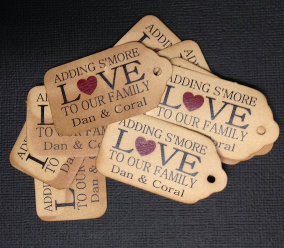 """Adding S'More Love to our Family WITH HEART 100 SMALL 2"""" Favor Tag"""