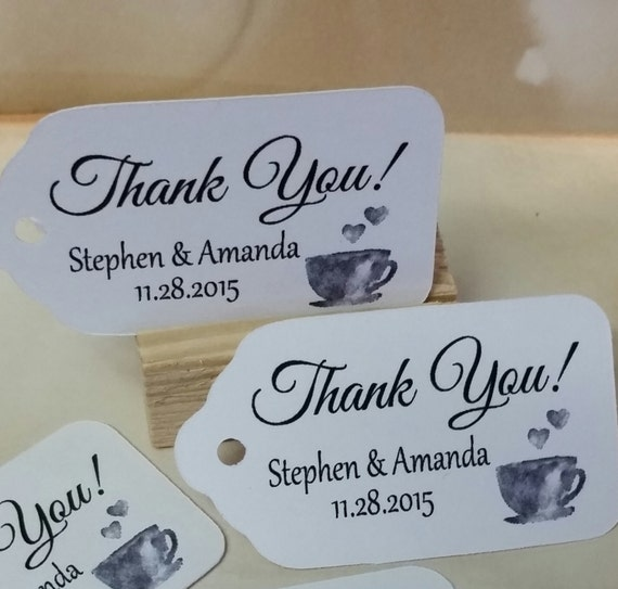 "Thank You COFFEE or TEA Party favor tag Choose your quantity SMALL 2"" Favor Tag"