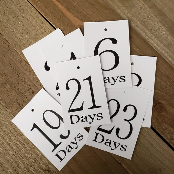 """Days Countdown Number Card Seat Placement Cards rectangle 2"""" x 3"""""""