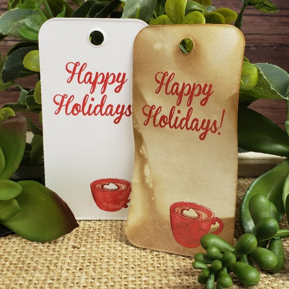 "Happy Holidays RECTANGLE 1.5"" x 3"" Merry Christmas Happy Holiday Favor Tag Non-personalized"