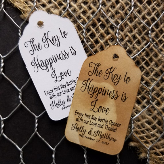 "Key to Happiness is Love bottle opener love and thanks SMALL 2"" Favor Tag Choose your quantity"