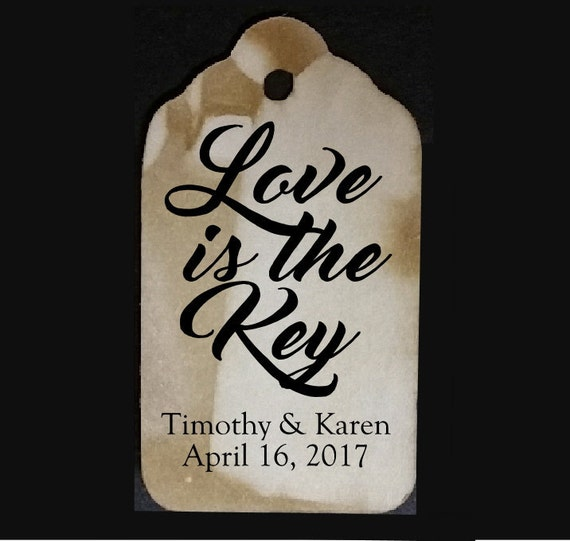 "Love is the Key SMALL 2"" Favor Tag Choose your quantity"
