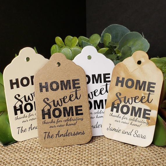 Home Sweet Home thank you for celebrating Personalized housewarming Favor Tag  (my MEDIUM tag) 1 3/8 x 2 1/2 choose your amount