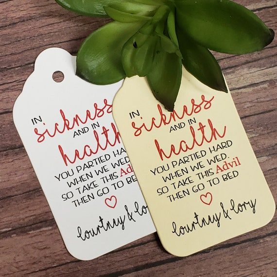 "In Sickness and in Health (my LARGE keepsake souvenir tag) 1 3/4"" x 3 1/4"" Tags Personalize Keepsake Souvenir party favor Hangover kit"
