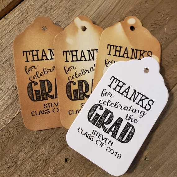 Thanks for Celebrating the Grad MEDIUM Personalized Graduation class of Favor Tag CHOOSE your amount Graduation Thank you