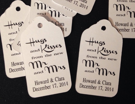 "Hugs and Kisses from the new Mr and Mrs (my SMALL tag) 1 1/8"" x 2"" Favor Tags Keepsake Souvenir party favor"