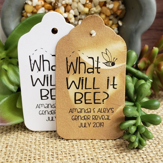 """What will it Bee (my MEDIUM tag) 1 3/8"""" x 2 1/2"""" Personalized Shower Baby Favor Tag"""
