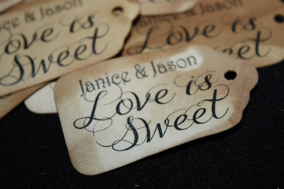 "Love is Sweet SMALL 2"" Personalized Favor Tag Thank you Favor"