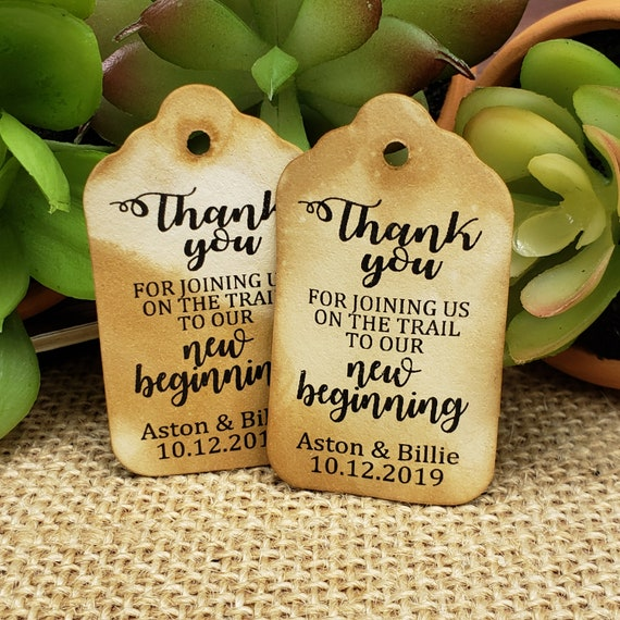 """Thank you for joining us on the trail to our new Beginning Choose your quantity (my SMALL tag) 1 1/8"""" x 2"""" Favor Tag"""