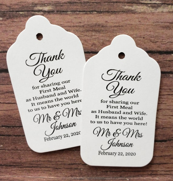 "Thank you for Sharing our First Meal as Husband and Wife (my MEDIUM tag) 1 3/8"" x 2 1/2"" Personalized Wedding Favor Tag souvenir Mr and Mrs"